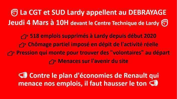Lardy : débrayage jeudi 4 mars 10h devant le CTL contre les décisions de la direction sur l'emploi, le chômage partiel, les congés et les salaires