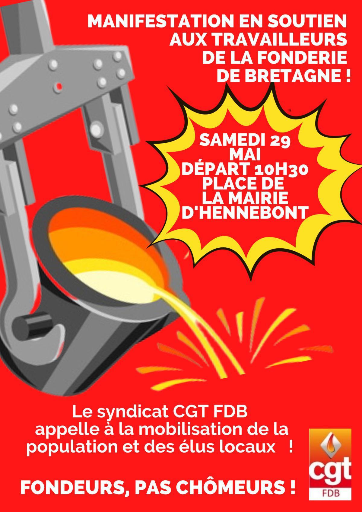 Journée de soutien aux salariés de la Fonderie De Bretagne, en lutte depuis le 27 Avril 2021
