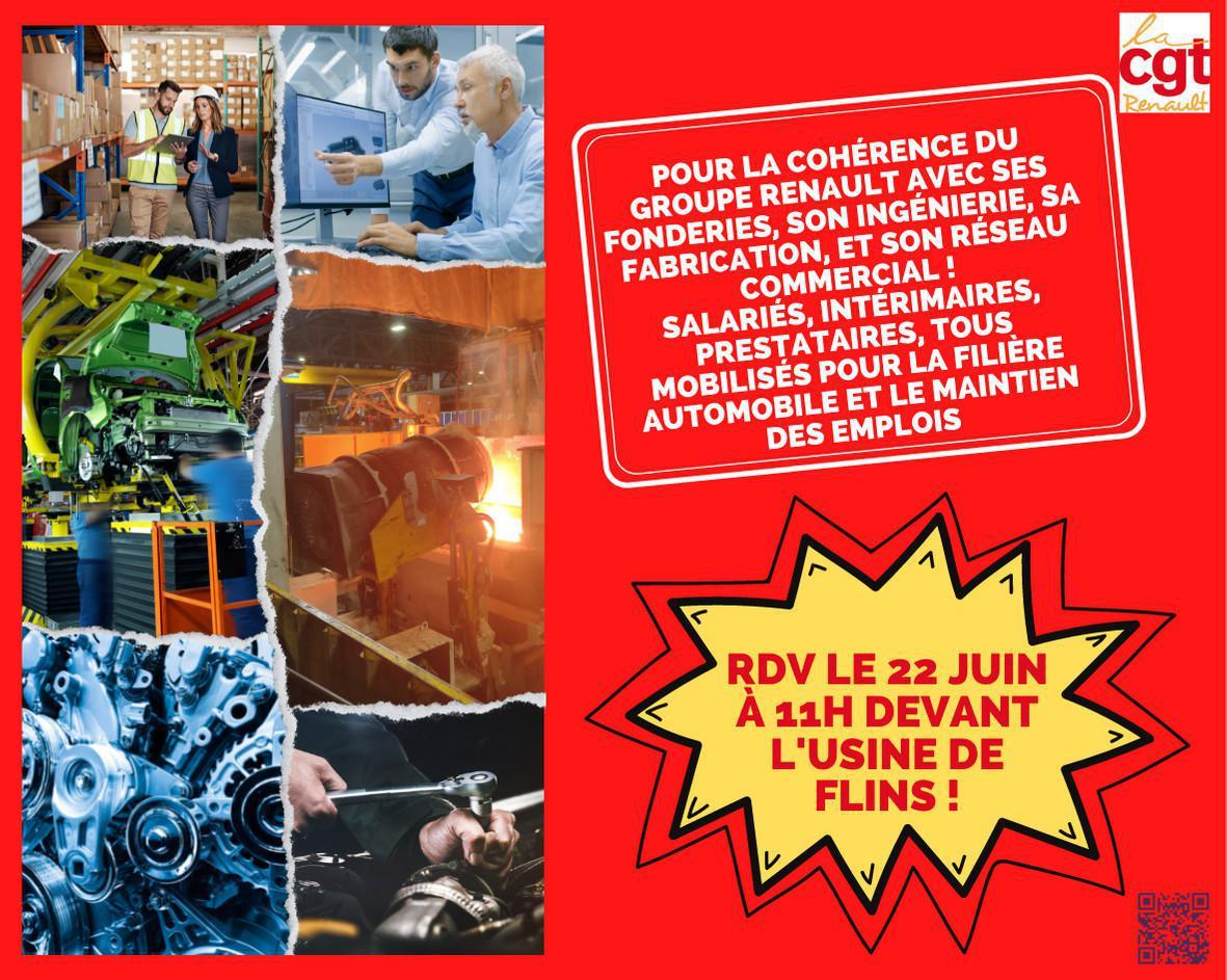 Lardy : pour défendre nos emplois, Salariés de l'ingénierie, des usines, des fonderies : Faisons converger nos mobilisations ! RDV devant l'usine de Flins le 22 juin