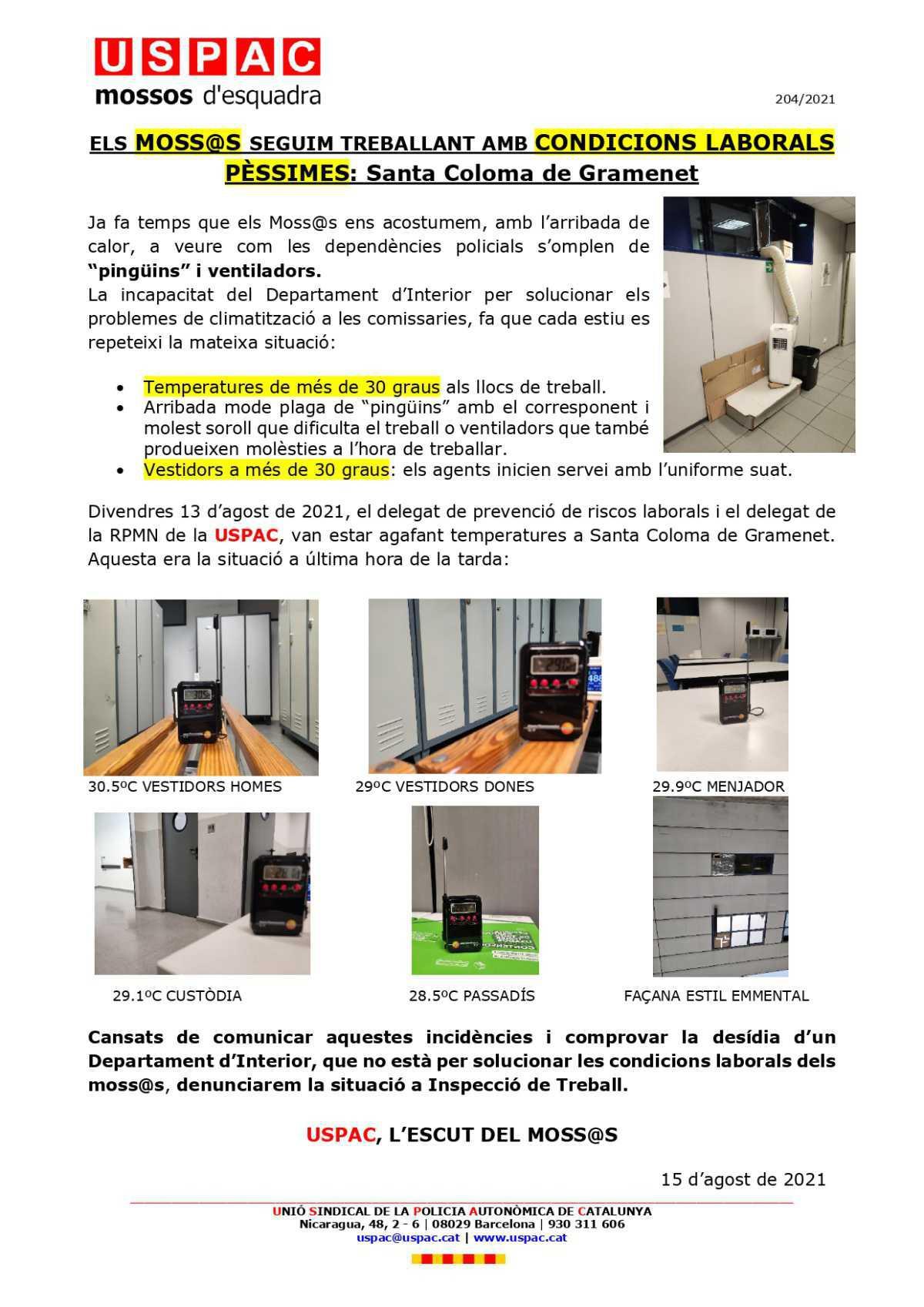 ELS MOSS@S SEGUIM TREBALLANT AMB CONDICIONS LABORALS PÈSSIMES: Santa Coloma de Gramenet