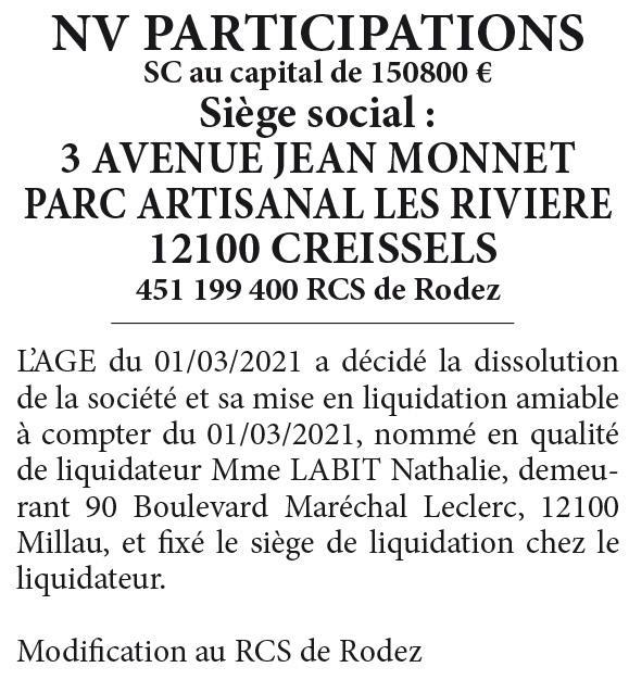 NV PARTICIPATIONS-REF719492