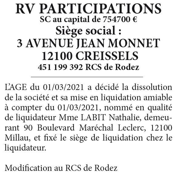 RV PARTICIPATIONS-REF720304