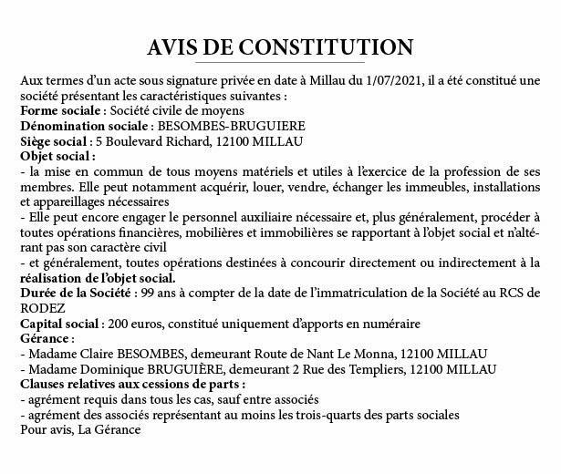 Constitution BESOMBES-BRUGUIERE