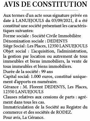 Avis constitution 159322