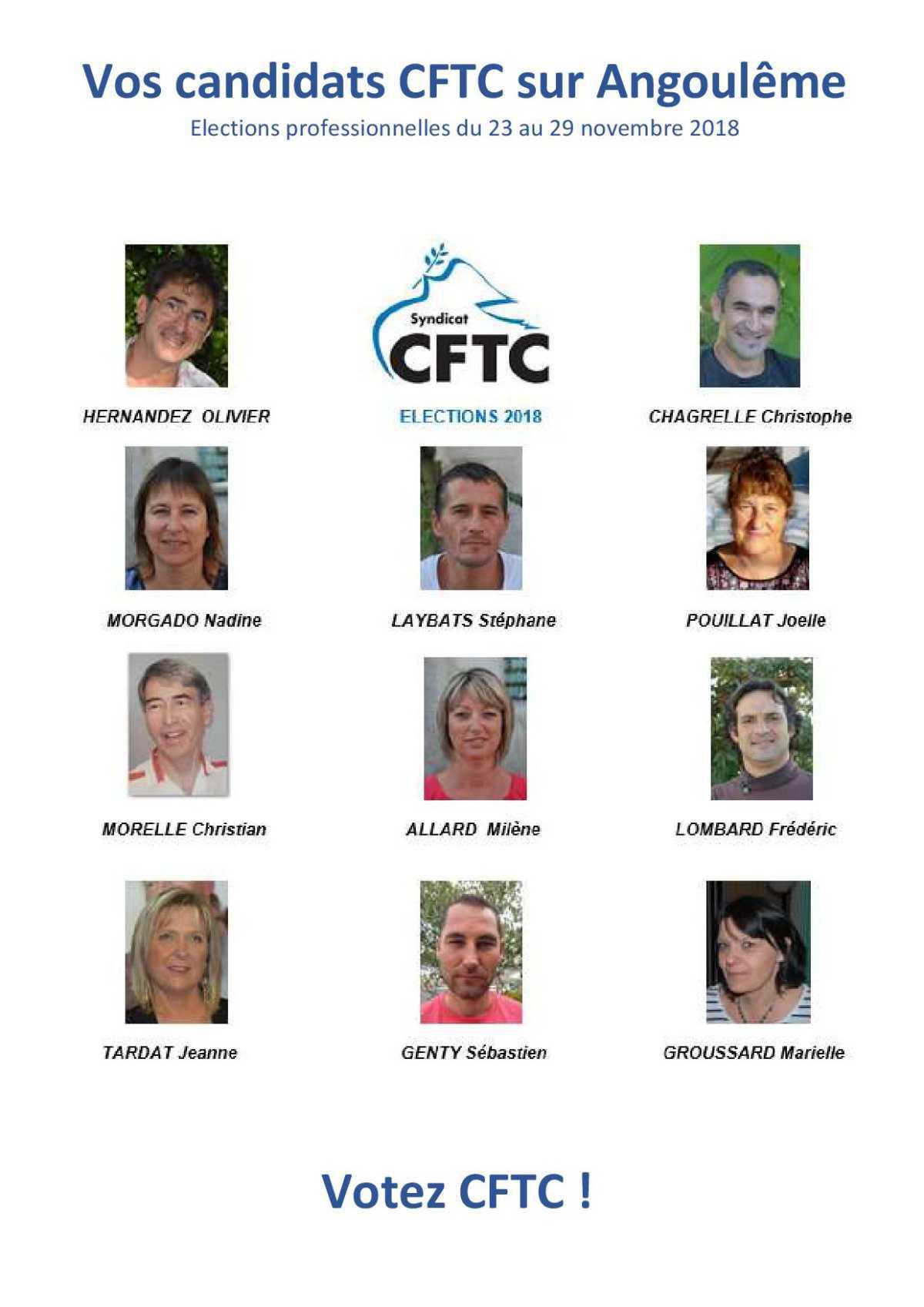 Vos candidats CFTC sur Angoulême. OCT 2018