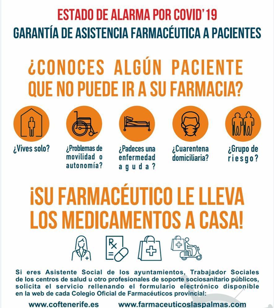 Apotheken op de Canarische Eilanden bezorgen medicamenten aan huis bij kwetsbare patiënten