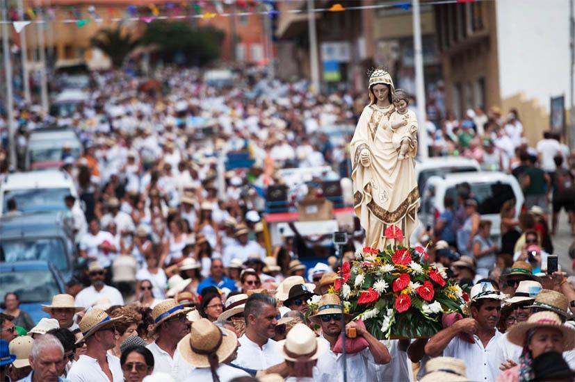Feest ter ere van de 'Virgen de las Mercedes de Roja' in El Médano in 1899