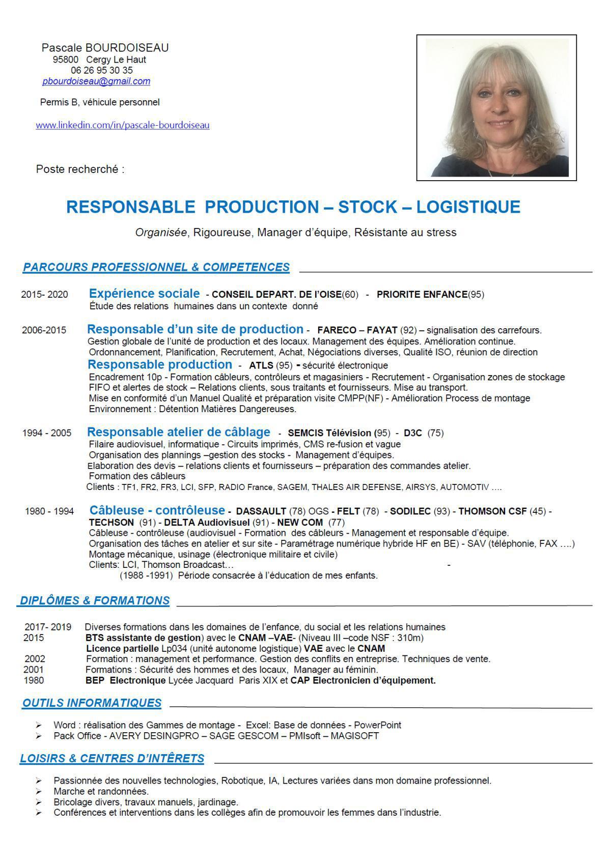 Recherche poste RESPONSABLE PRODUCTION - STOCK - LOGISTIQUE