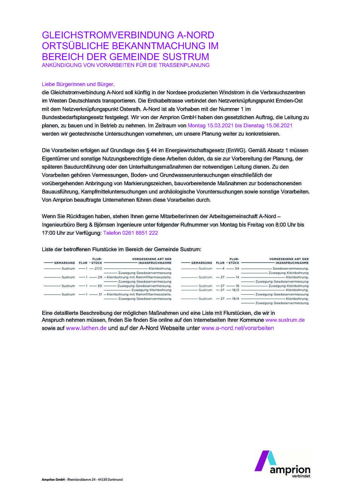 Gleichstromverbindung A-Nord: Ortsübliche Bekanntmachung