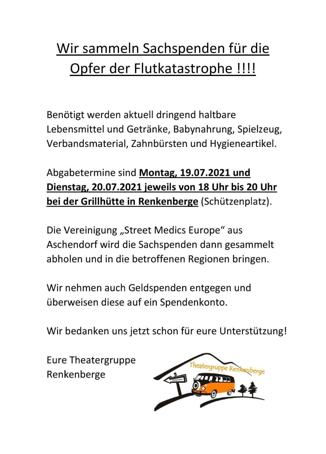 Theatergruppe Renkenberge sammelt Sachspenden für die Opfer der Flutkatastrophe