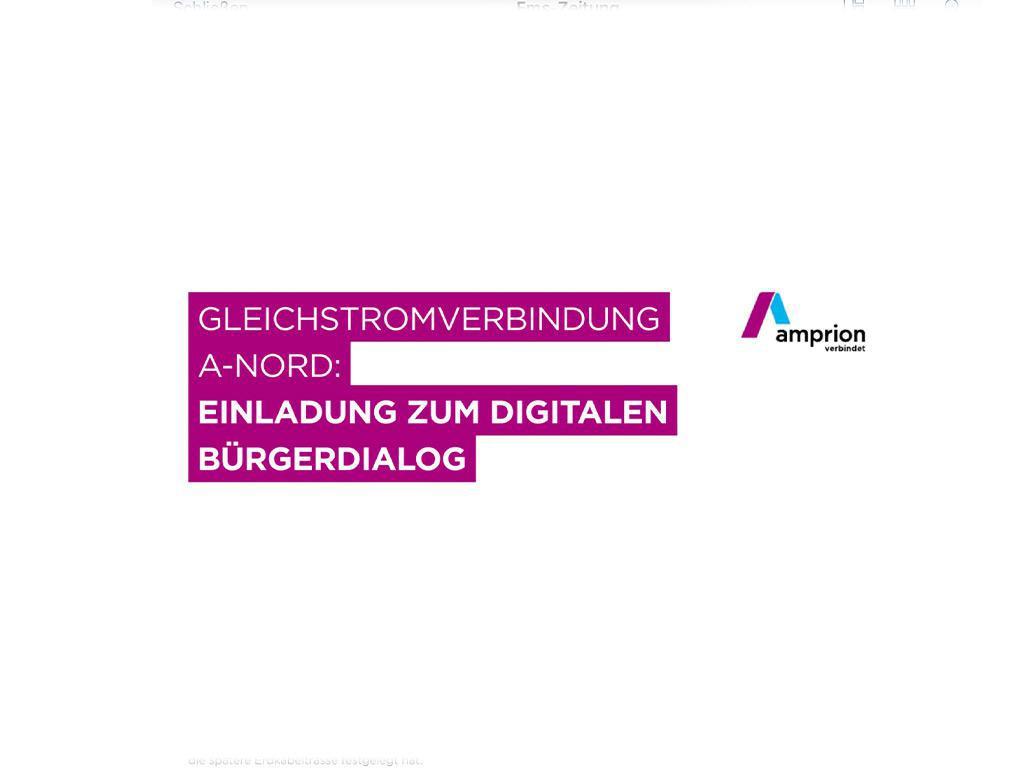 Gleichstromverbindung A-Nord - Einladung zum digitalen Bürgerdialog