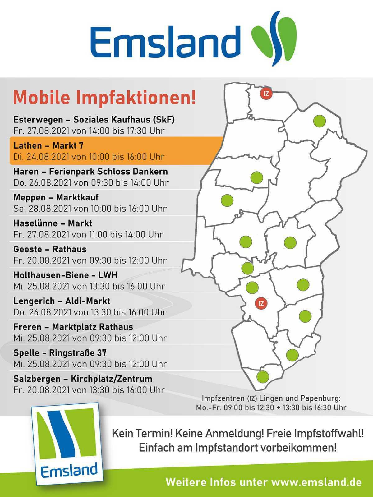 """24.08.2021 - Impfaktion in Lathen ohne Anmeldung von 10 Uhr bis 16 Uhr im """"Markt 7"""""""