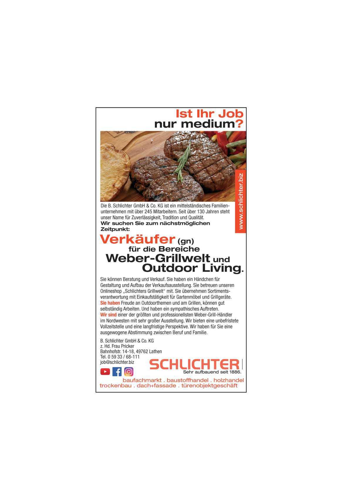 Verkäufer (gn) für die Bereiche Weber-Grillwelt und Outdoor Living