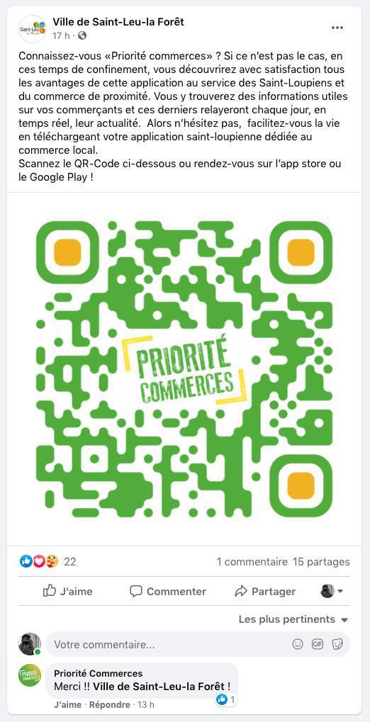 Un post sur la page Facebook de la Mairie de Saint-Leu-la-Forêt
