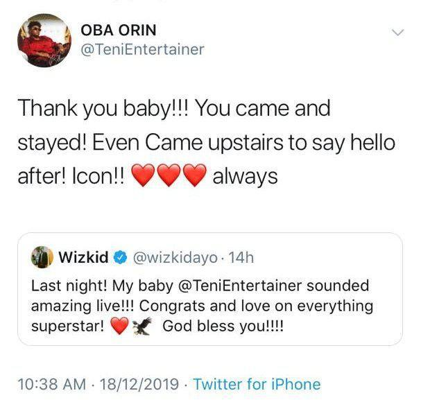 Wizkid And Teni Gush Over Each Other Following Her Live Concert Yesterday