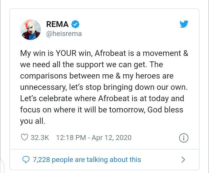 """""""Comparisons Between Me & My Heros Are Unecessary… My Win Is Your Win"""" – Rema Tells Fans"""
