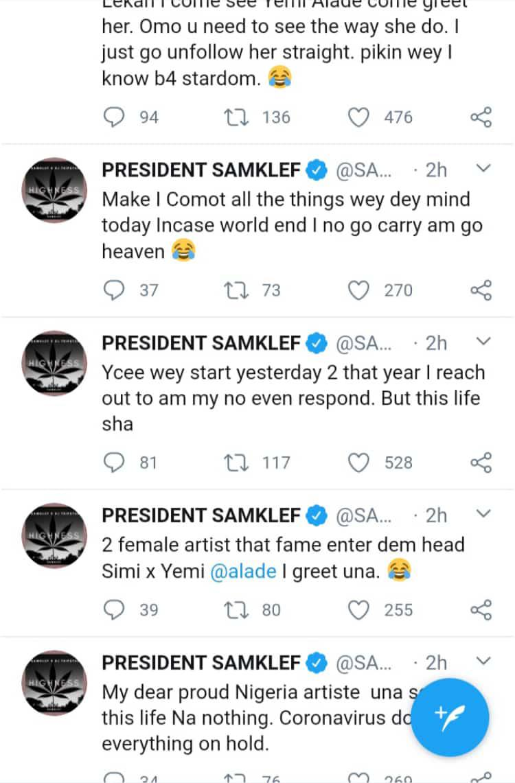Samklef calls out Simi, Yemi Alade and Ycee, says little fame made them forget the past
