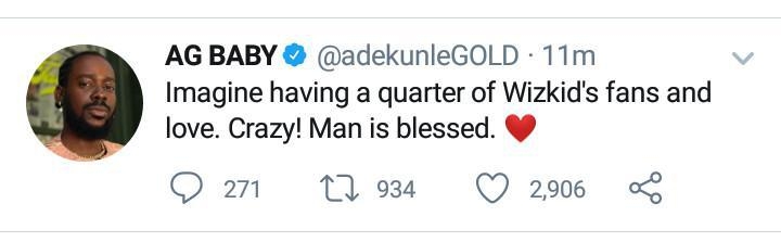 """Man is blessed, imagine having a quarter of his fans"" – Adekunle Gold praises Wizkid"