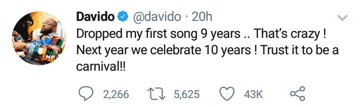 Davido clocks 9 years in the music industry, reveals future plan