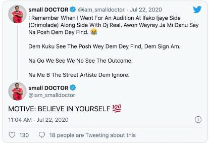 Small Doctor Shares How He Wasn't Picked At An Audition For Not Being 'Posh'