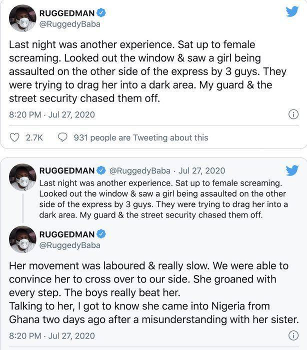 Ruggedman Shares How He Rescued A Nearly Raped Female Traveler From Hoodlums In Lagos