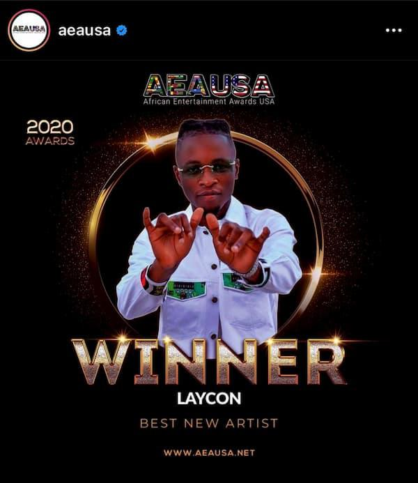 Laycon Wins Best New Artist at AEAUSA 2020