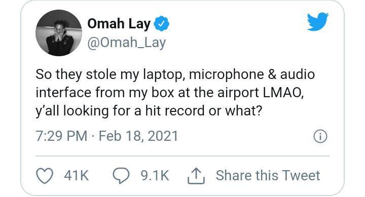 Singer, Omah Lay reveals he was robbed at the airport