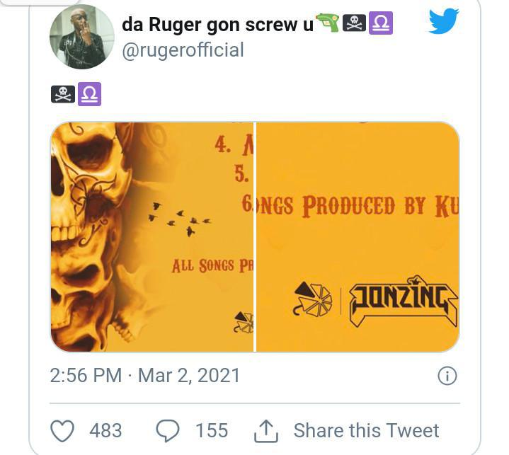 Ruger hints at releasing a possible album