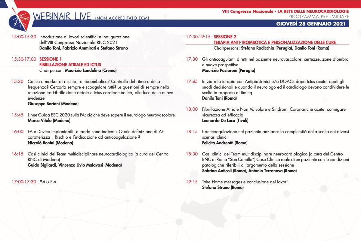 LIVE | 28 Gennaio 2021 | VIII Congresso Rete delle neurocardiologie