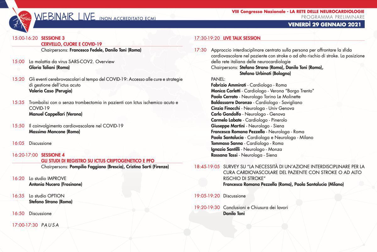LIVE | 29 Gennaio 2021 | VIII Congresso Rete delle neurocardiologie