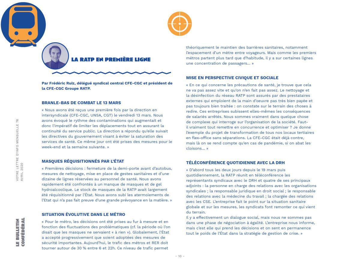 Interview Frédéric Ruiz président CFE-CGC Groupe RATP