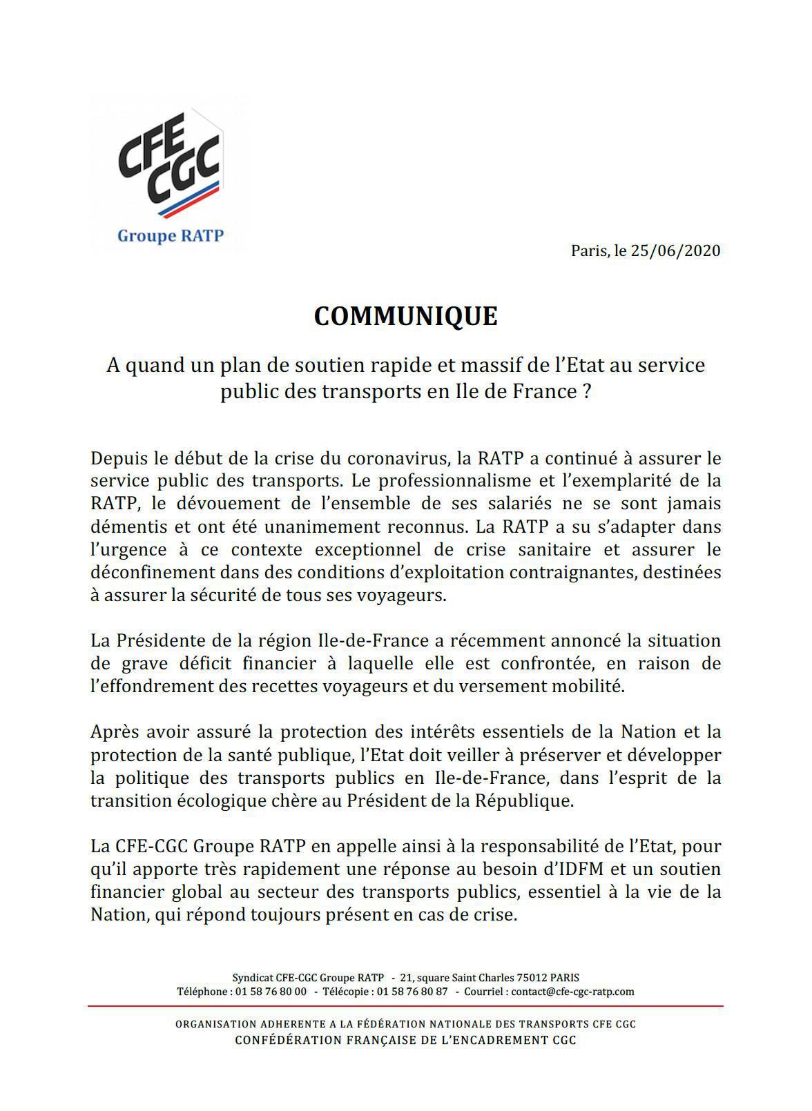 """Communiqué de presse """"A quand un plan de soutien rapide et massif de l'Etat au service public des transports en Ile de France ?"""""""