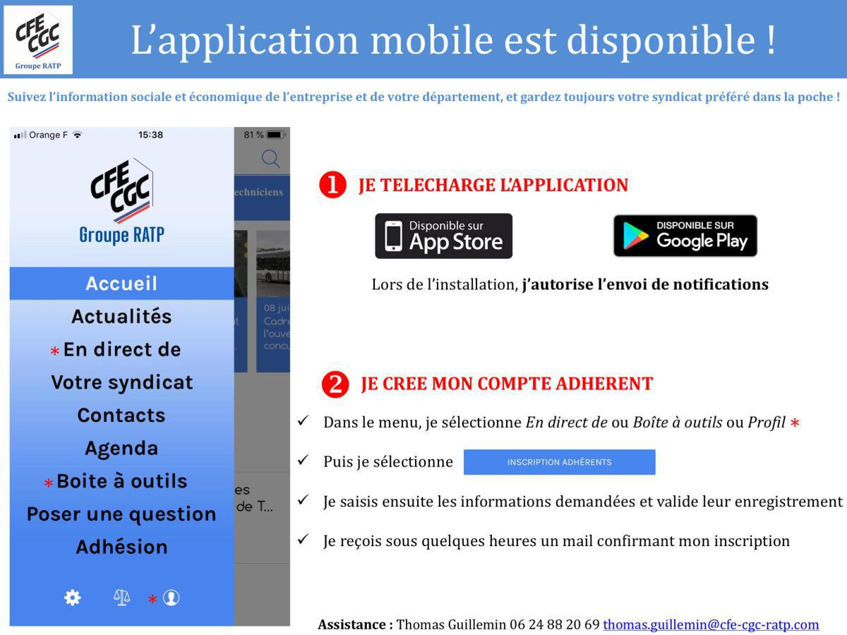 L'application mobile CFE-CGC Groupe RATP est disponible