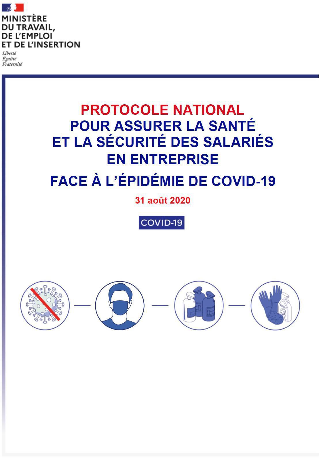 Protocole national pour assurer la santé et la sécurité des salariés en entreprise face à l'épidémie de Covid19 - 31 août 2020