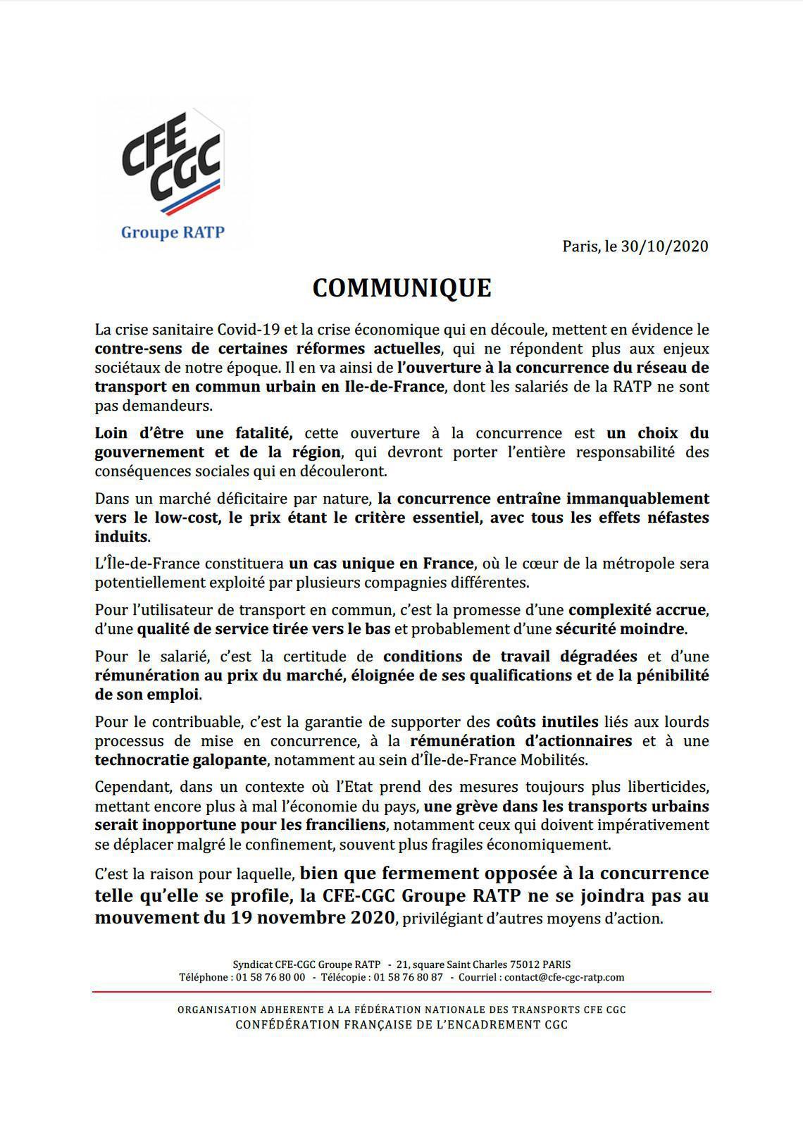 """Communiqué de presse """"Mouvement social 19 novembre 2020"""""""