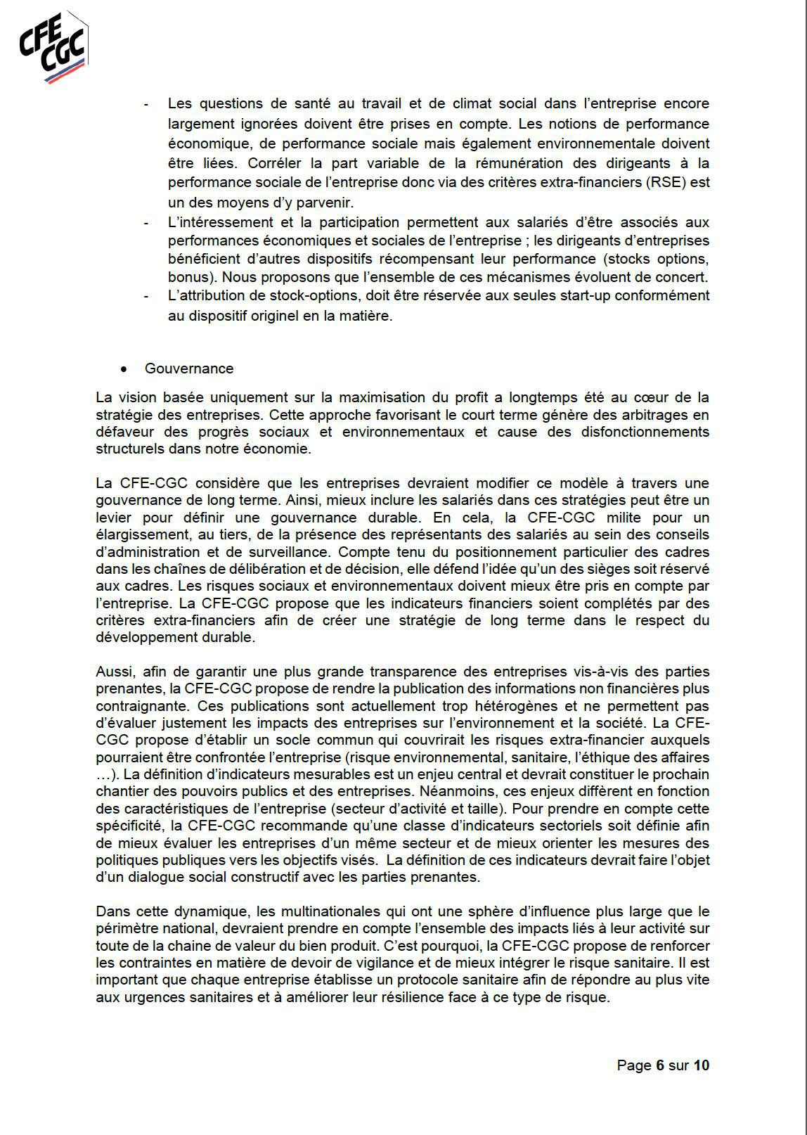 Propositions de la CFE-CGC concernant le plan de relance