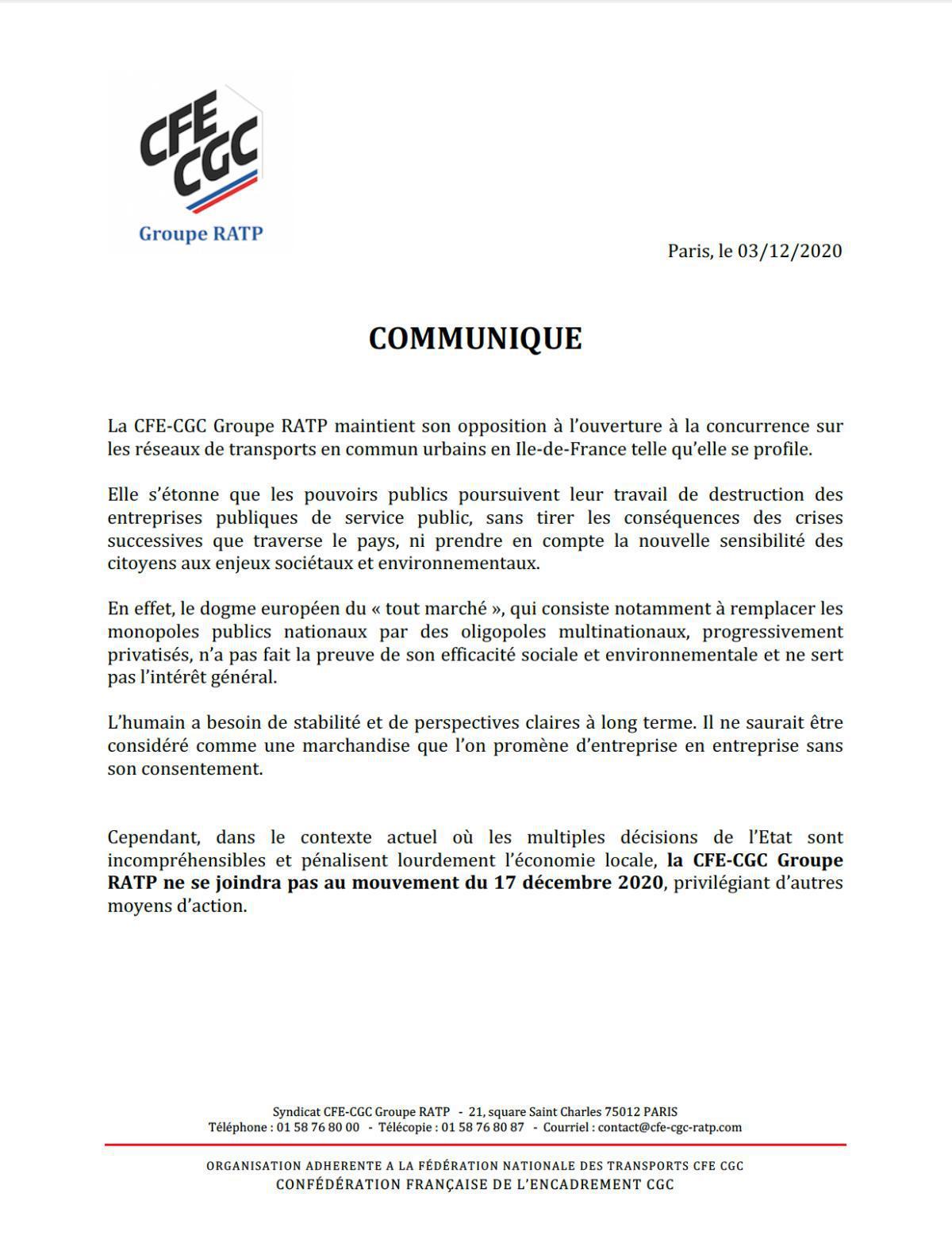 """Communiqué de presse """"Mouvement social 17 décembre 2020"""""""