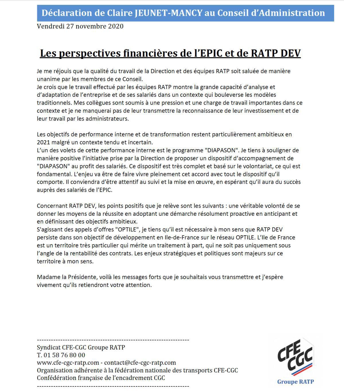 "Déclaration administratrice CFE-CGC en CA RATP du 27 novembre 2020"""