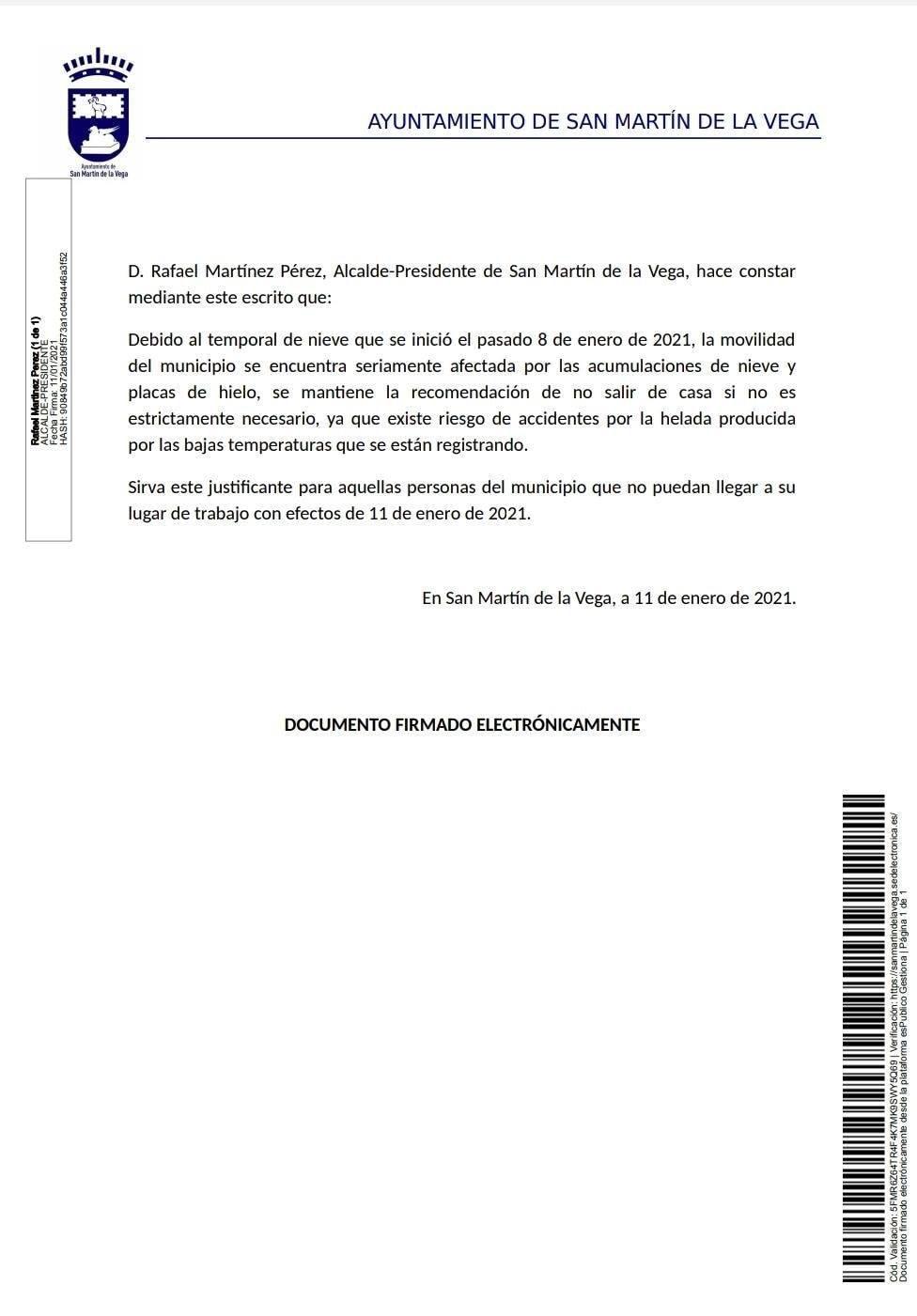 Justificante genérico por imposibilidad de desplazamiento 11/01/2021