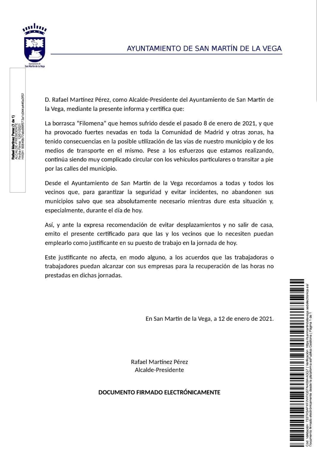 Justificante genérico por imposibilidad de desplazamiento 12/01/2021