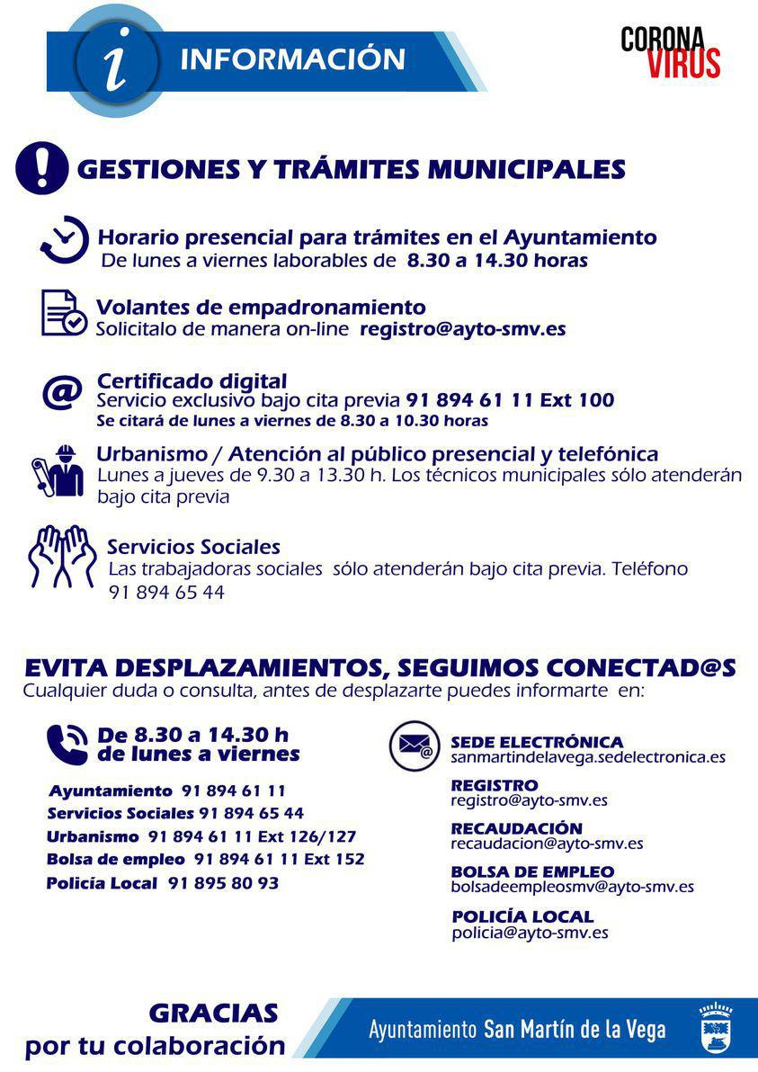 Horario de atención al público del Ayuntamiento y servicios técnicos