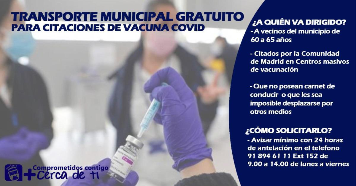 Transporte municipal gratuito para citaciones de vacunación Covid