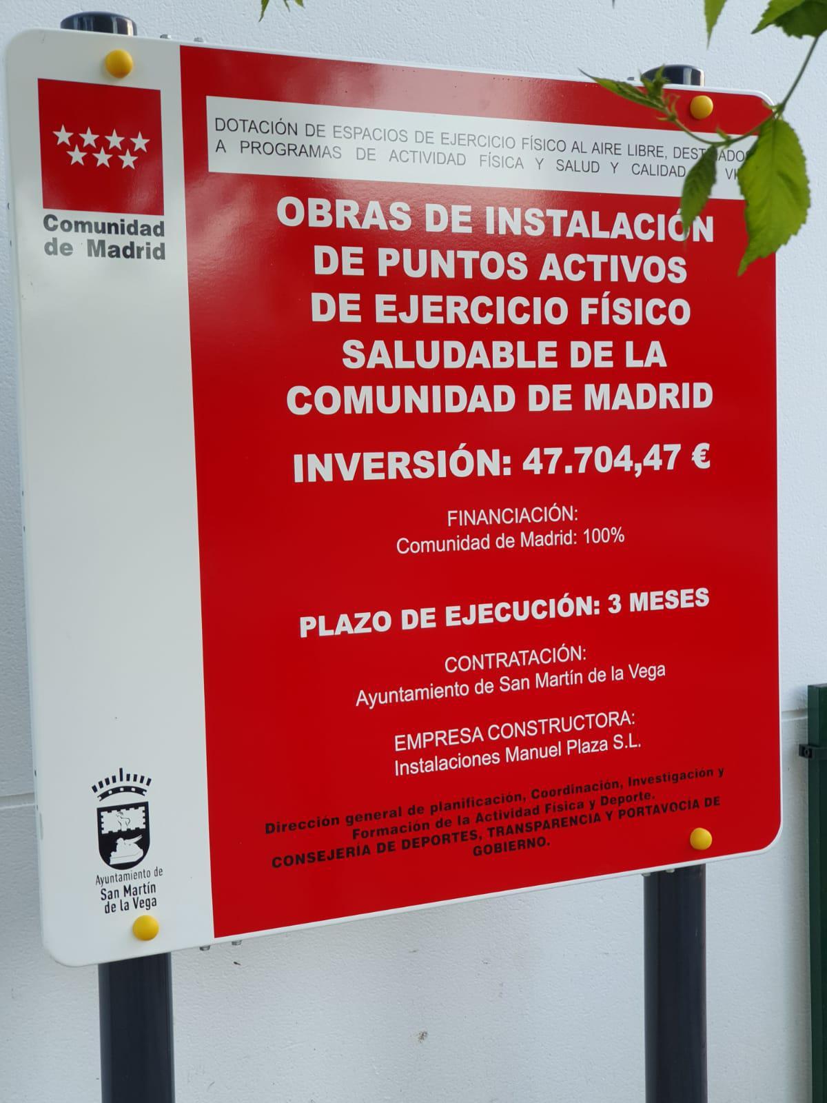 San Martín de la Vega inaugura su punto activo de ejercicio en la calle Giner de los Rios