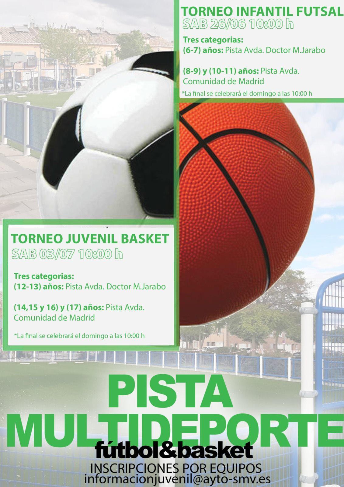 Torneos de futsal y baloncesto en las pistas multideporte