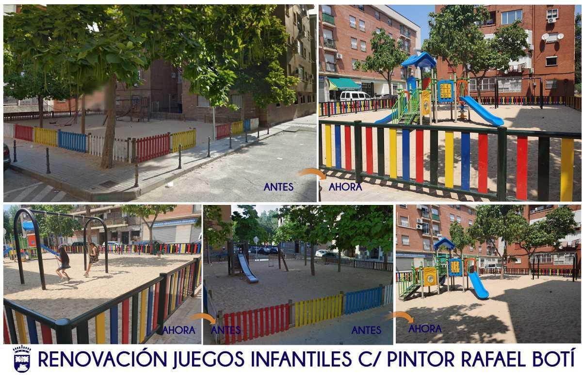 Finalizados los trabajos de remodelación del parque infantil situado en Pintor Rafael Botí