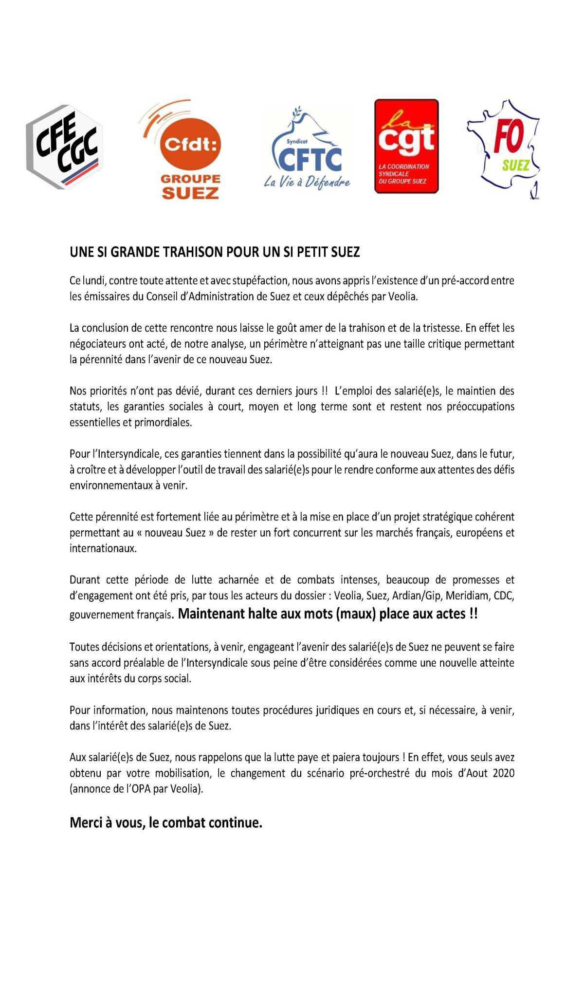 Communiqué de presse intersyndical - La Trahison-
