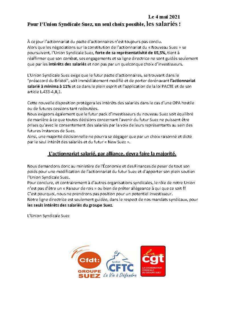 Communiqué Union Syndicale Suez