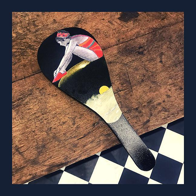 Exposition de collages sur raquette