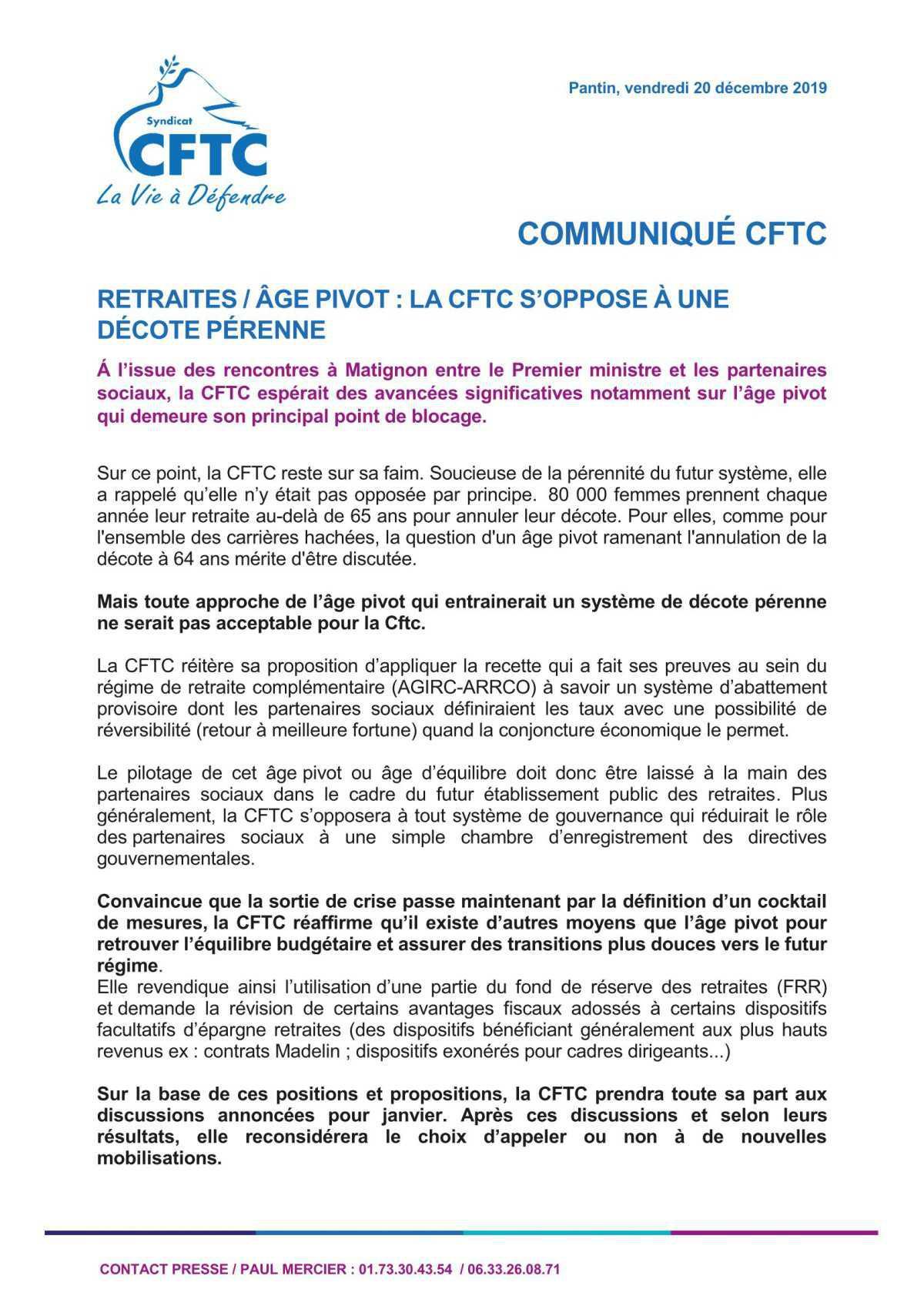 RETRAITES / ÂGE PIVOT : LA CFTC S'OPPOSE À UNE DÉCOTE PÉRENNE