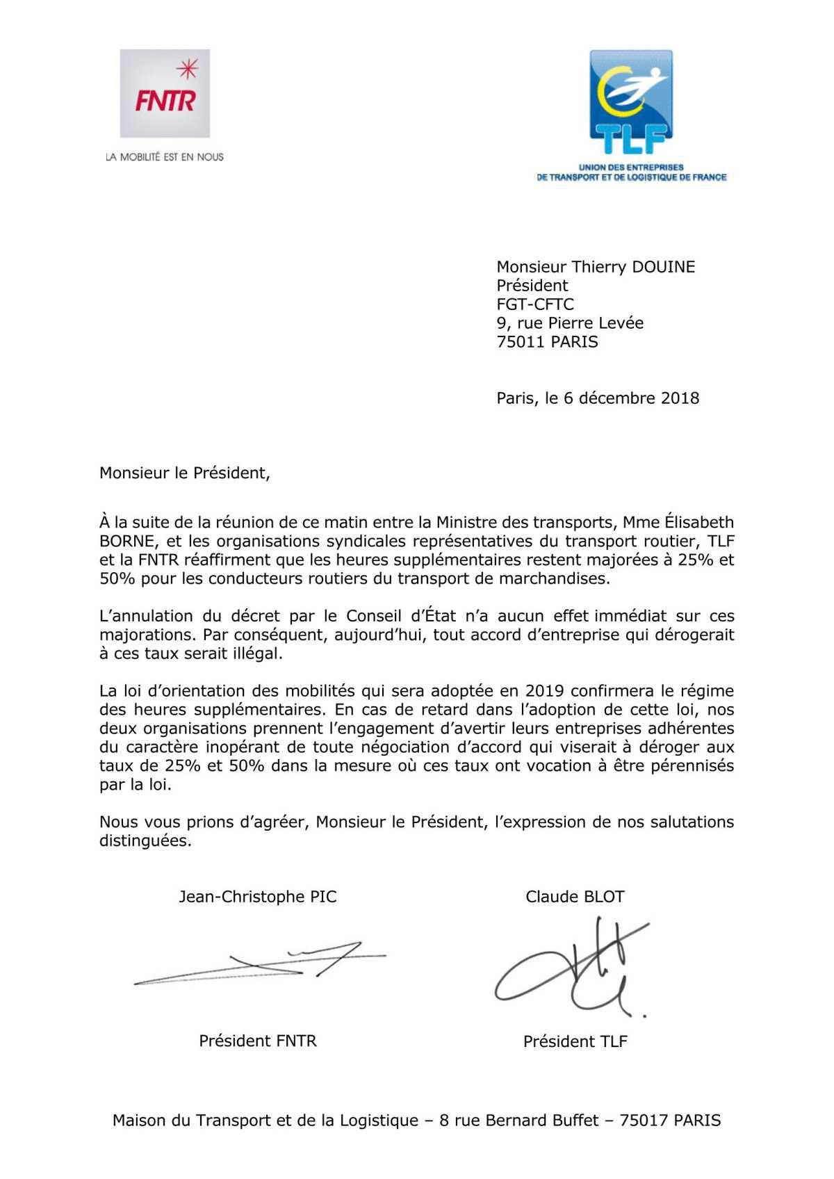 @TLF et @FNTR écrivent à la @CFTCTransports : Ils s'expliquent sur les heures supplémentaires des conducteurs du TRM. Après en avoir demandé en catimini l'annulation…